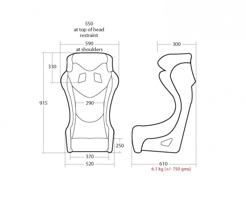 Cobra/Walero Ultralite Race Seat Measurements